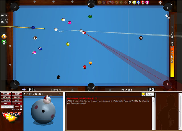 3D Online Pool 8-Ball & 9-Ball English Pool Tournaments Prized Events versatile Screen Shot